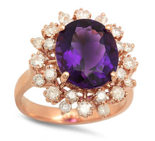 Load image into Gallery viewer, 6.00 Carats Natural Amethyst and Diamond 14K Solid Rose Gold Ring