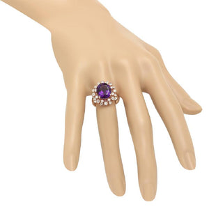 6.00 Carats Natural Amethyst and Diamond 14K Solid Rose Gold Ring