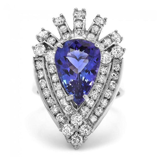 7.20 Carats Natural Very Nice Looking Tanzanite and Diamond 14K Solid White Gold Ring