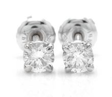 Load image into Gallery viewer, Exquisite 0.40 Carats Natural Diamond 14K Solid White Gold Stud Earrings