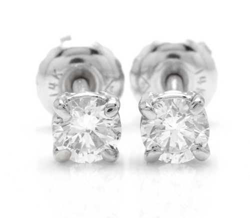 Exquisite 0.40 Carats Natural Diamond 14K Solid White Gold Stud Earrings