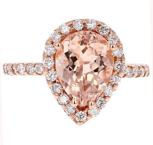 3.70 Carats Exquisite Natural Morganite and Diamond 14K Solid Rose Gold Ring