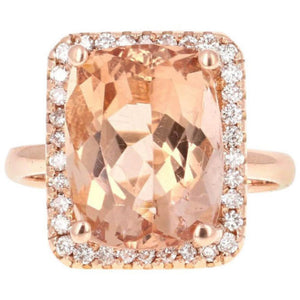8.50 Carats Natural Morganite and Diamond 14K Solid Rose Gold Ring