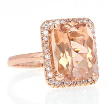 Load image into Gallery viewer, 8.50 Carats Natural Morganite and Diamond 14K Solid Rose Gold Ring