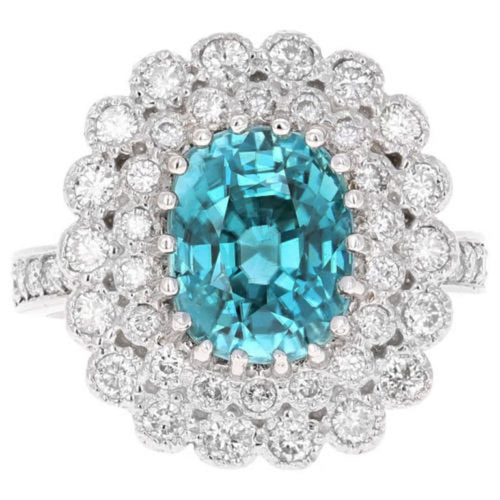 8.30 Carats Natural Very Nice Looking Blue Zircon and Diamond 14K Solid White Gold Ring