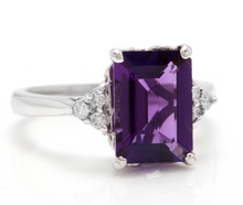 Load image into Gallery viewer, 4.15 Carats Natural Amethyst and Diamond 14K Solid White Gold Ring