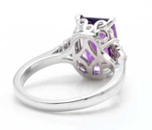 4.15 Carats Natural Amethyst and Diamond 14K Solid White Gold Ring