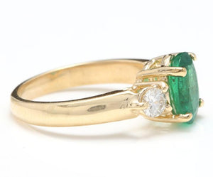 2.16 Carats Natural Emerald and Diamond 14K Solid Yellow Gold Ring