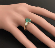 Load image into Gallery viewer, 2.16 Carats Natural Emerald and Diamond 14K Solid Yellow Gold Ring