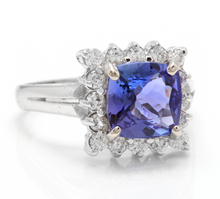 Load image into Gallery viewer, 3.00 Carats Natural Very Nice Looking Tanzanite and Diamond 14K Solid White Gold Ring
