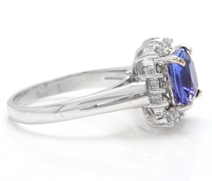 3.00 Carats Natural Very Nice Looking Tanzanite and Diamond 14K Solid White Gold Ring