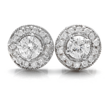 Load image into Gallery viewer, Exquisite 0.85 Carats Natural Diamond 14K Solid White Gold Stud Earrings