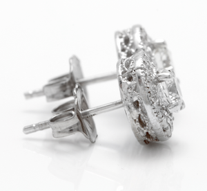 Exquisite 0.85 Carats Natural Diamond 14K Solid White Gold Stud Earrings