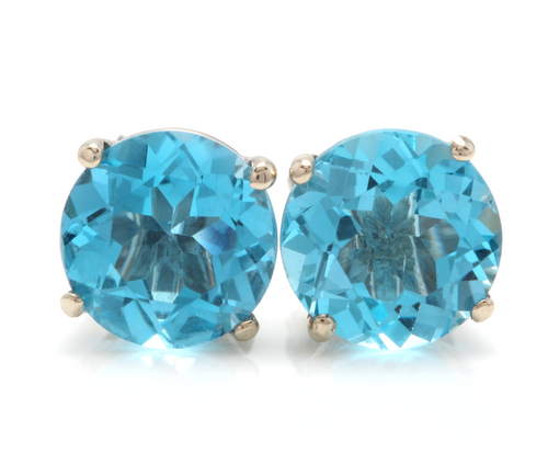 Exquisite Top Quality 4.50 Carats Natural Swiss Blue Topaz 14K Solid White Gold Stud Earrings