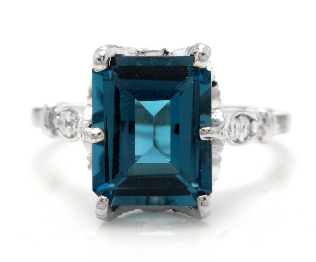 3.78 Carats Natural Impressive LONDON BLUE TOPAZ and Diamond 14K White Gold Ring