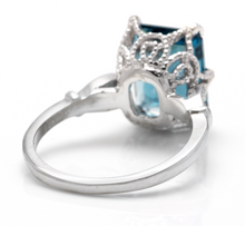 Load image into Gallery viewer, 3.78 Carats Natural Impressive LONDON BLUE TOPAZ and Diamond 14K White Gold Ring