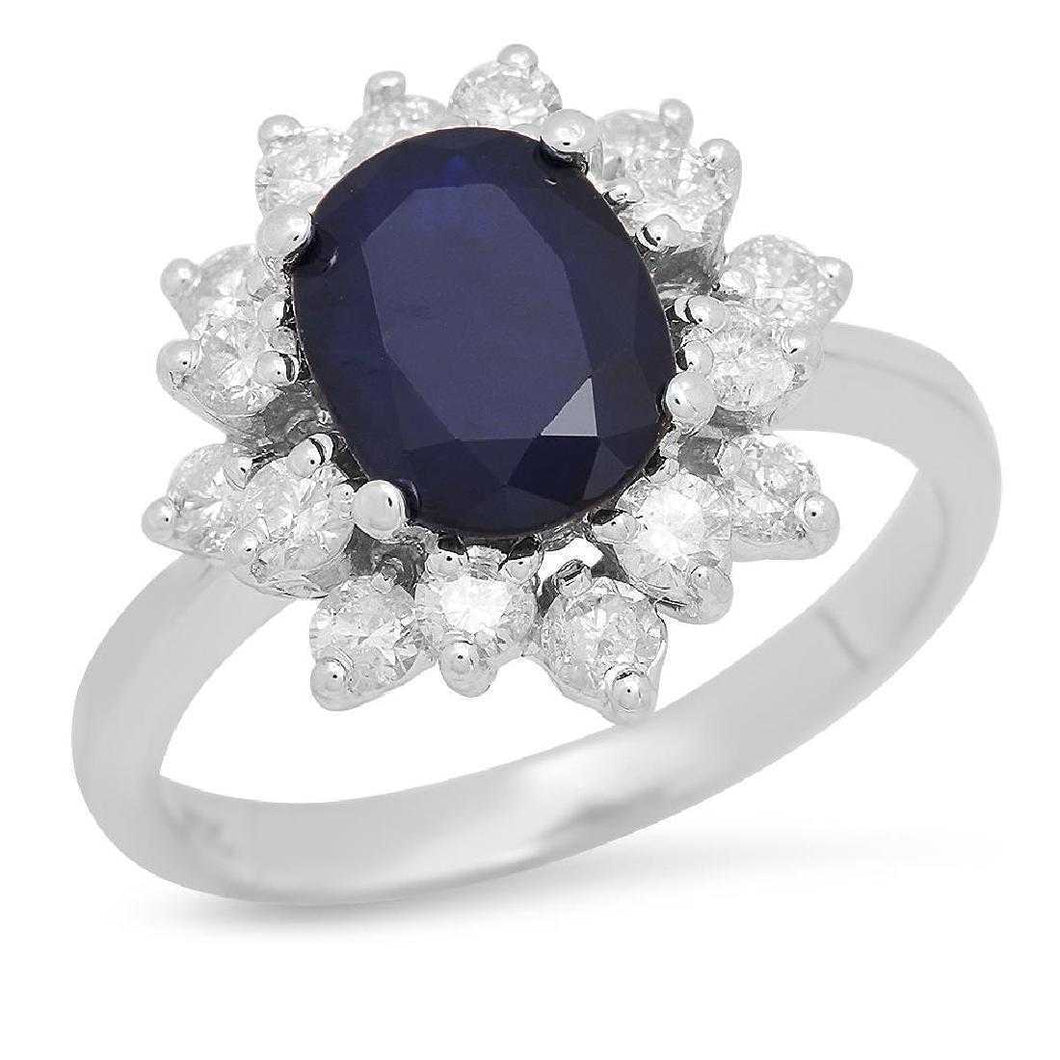 3.30 Carats Exquisite Natural Blue Sapphire and Diamond 14K Solid White Gold Ring