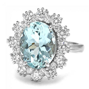 4.10 Carats Impressive Natural Aquamarine and Diamond 14K Solid White Gold Ring