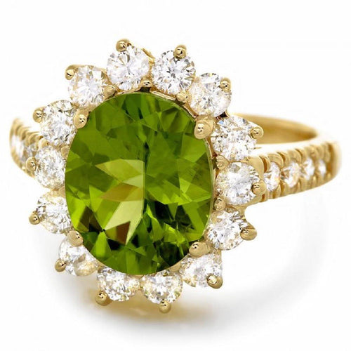 5.15 Carats Impressive Natural Peridot and Diamond 14K Yellow Gold Ring
