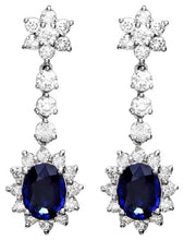 Load image into Gallery viewer, Exquisite 5.50 Carats Natural Sapphire and Diamond 14K Solid White Gold Earrings