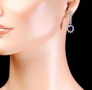 Exquisite 5.50 Carats Natural Sapphire and Diamond 14K Solid White Gold Earrings