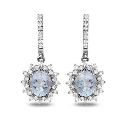 Exquisite 9.60 Carats Natural Aquamarine and Diamond 14K Solid White Gold Earrings