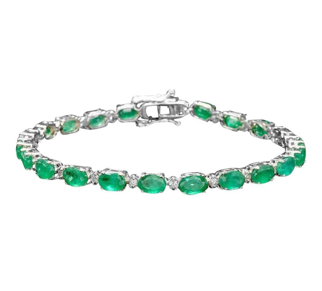 Very Impressive 14.60 Carats Natural Emerald & Diamond 14K Solid White Gold Bracelet