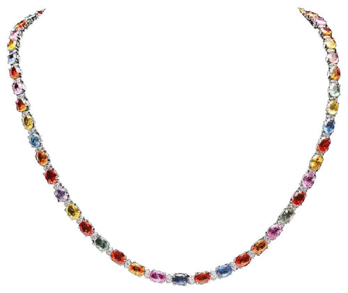 33.60Ct Natural Multi-Color Sapphire and Diamond 14K Solid White Gold Necklace