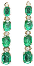 Load image into Gallery viewer, Exquisite 7.30 Carats Natural Emerald and Diamond 14K Solid Yellow Gold Earrings
