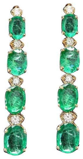 Exquisite 7.30 Carats Natural Emerald and Diamond 14K Solid Yellow Gold Earrings