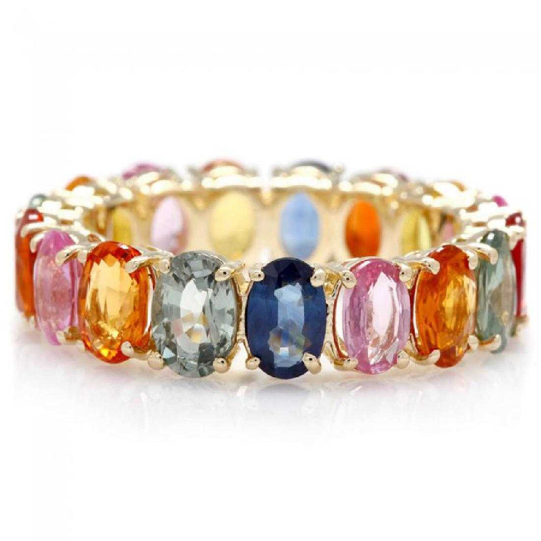 10.00 Carats Exquisite Natural Multi-Color Sapphire 14K Solid Yellow Gold Ring