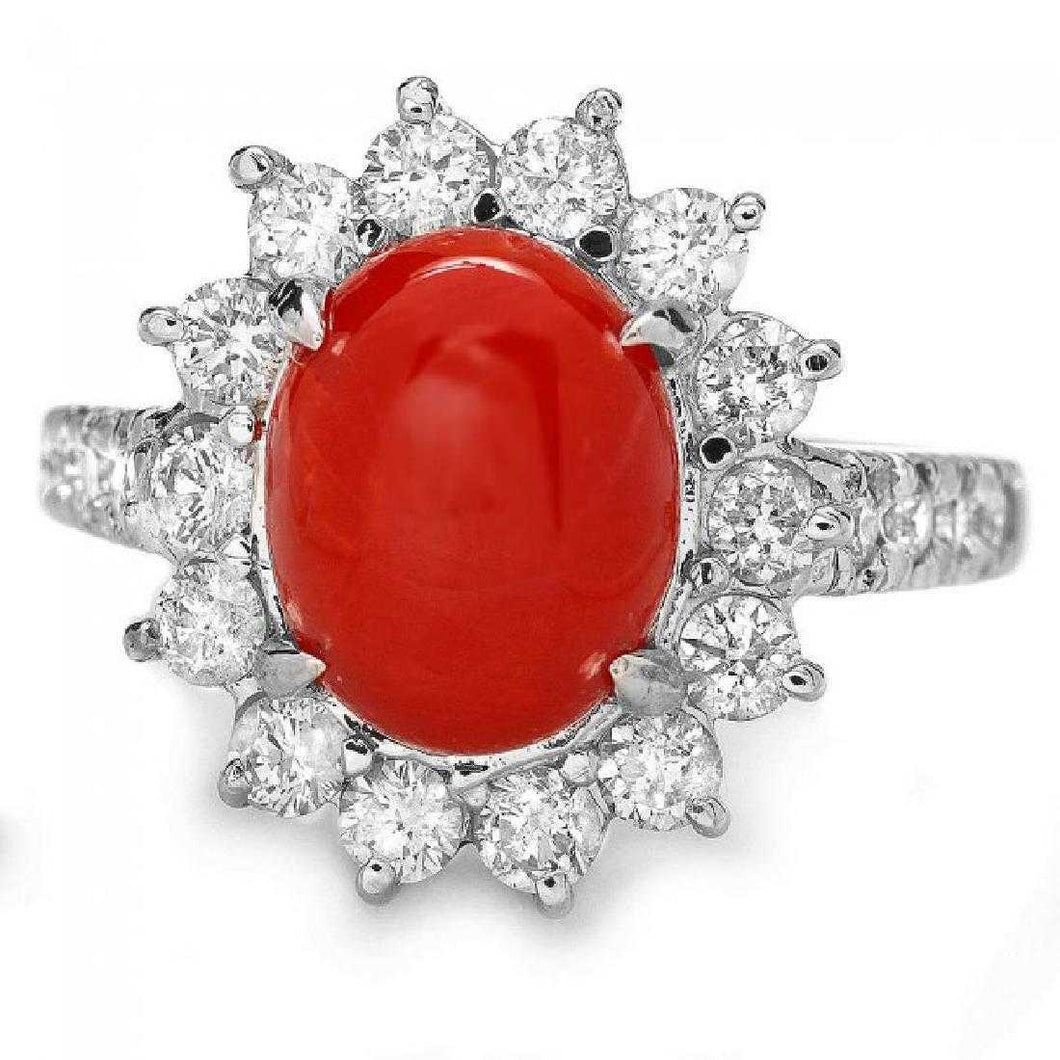 3.45 Carats Impressive Coral and Diamond 14K White Gold Ring