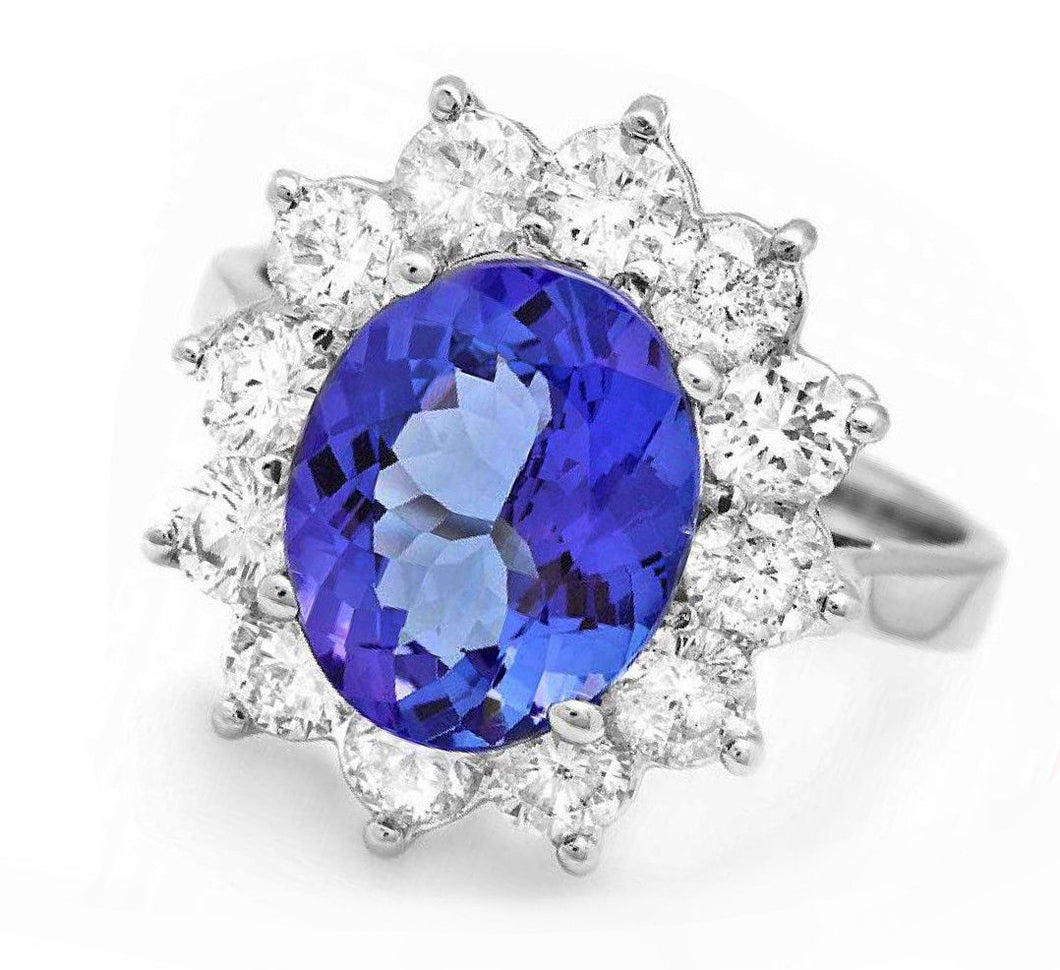 5.50 Carats Natural Very Nice Looking Tanzanite and Diamond 14K Solid White Gold Ring