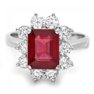 4.10 Carats Impressive Natural Red Ruby and Diamond 14K White Gold Ring