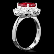 Load image into Gallery viewer, 4.10 Carats Impressive Natural Red Ruby and Diamond 14K White Gold Ring