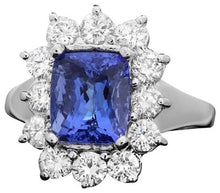 Load image into Gallery viewer, 4.50 Carats Natural Very Nice Looking Tanzanite and Diamond 14K Solid White Gold Ring