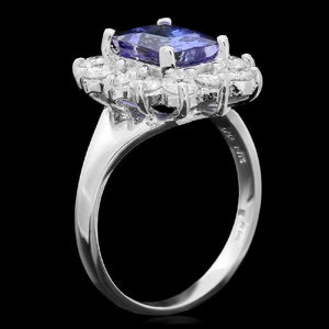 4.50 Carats Natural Very Nice Looking Tanzanite and Diamond 14K Solid White Gold Ring