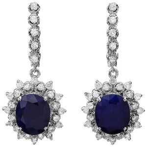 Exquisite 11.40 Carats Natural Sapphire and Diamond 14K Solid White Gold Earrings