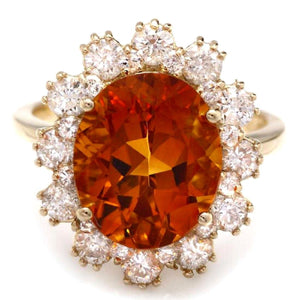 5.90 Carats Exquisite Natural Madeira Citrine and Diamond 14K Solid Yellow Gold Ring