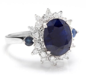 4.50 Carats Exquisite Natural Blue Sapphire and Diamond 14K Solid White Gold Ring