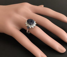 Load image into Gallery viewer, 4.50 Carats Exquisite Natural Blue Sapphire and Diamond 14K Solid White Gold Ring