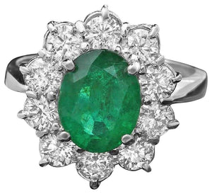 3.65 Carats Natural Emerald and Diamond 14K Solid White Gold Ring