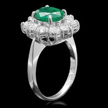 Load image into Gallery viewer, 3.65 Carats Natural Emerald and Diamond 14K Solid White Gold Ring