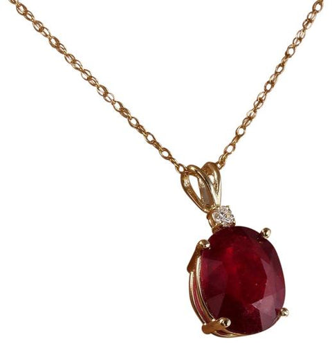 6.05Ct Natural Red Ruby and Diamond 14K Solid Yellow Gold Necklace
