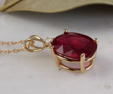 Load image into Gallery viewer, 5.55Ct Natural Red Ruby and Diamond 14K Solid Yellow Gold Necklace