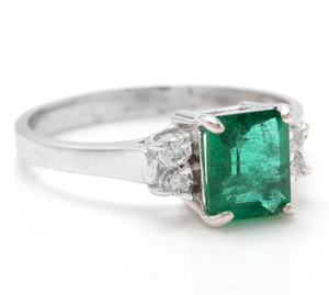 2.15 Carats Natural Emerald and Diamond 14K Solid White Gold Ring