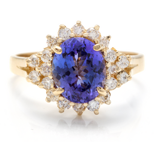 3.90 Carats Natural Very Nice Looking Tanzanite and Diamond 14K Solid Yellow Gold Ring