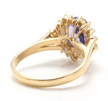 Load image into Gallery viewer, 3.90 Carats Natural Very Nice Looking Tanzanite and Diamond 14K Solid Yellow Gold Ring