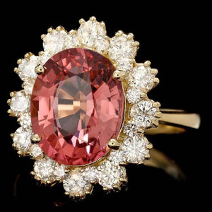 6.10 Carats Natural Very Nice Looking Tourmaline and Diamond 14K Solid Yellow Gold Ring