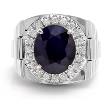 Load image into Gallery viewer, 8.20 Carats Natural Diamond & Blue Sapphire 14K Solid White Gold Men's Ring